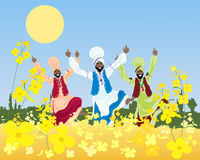 Punjabi harvest. An illustration of a three colorful bhangra dancers in a punjabi landscape with mustard crop under a blue sky Stock Photos