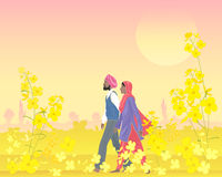 Punjabi landscape. An illustration of a punjabi couple dressed in traditional clothing walking through a bright field of mustard in the warm evening sunshine Stock Photo