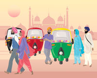 Punjabi life. An illustration of a punjabi street scene with tuk tuks for hire and sikh men and women in front of indian architecture Royalty Free Stock Photos