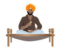 Punjabi man. An illustration of a punjabi sikh man eating chapattis on a wooden framed bed on a white background Stock Photo