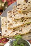 Punjabi Parantha stuffed with vegetables. Stock Photos
