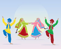 Punjabi performers. An illustration of punjabi dancers prforming a folk dance in traditional dress on a blue background with a big sun Royalty Free Stock Image
