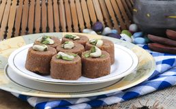 Punjabi Pinni. Pinni is a type of Punjabi and North Indian cuisine dish that is eaten mostly in winters. It is served as a dessert and is made from desi ghee Royalty Free Stock Photography