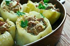 Punjena paprika. Stuffed pepper.dish is popular in Hungary, Czech Republic, Slovakia, Serbia, Macedonia, Bulgaria, Bosnia, Croatia, Slovenia and Montenegro stock images