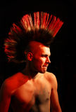 Punk. With the Iroquois in red on a black background stock photo