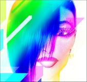 Punk Art Digital Image,Woman's Face. Colorful pop art image of a woman's face. This is a digital art image of a close up woman's face in pop art style. A modern Royalty Free Stock Photo