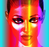 Punk Art Face,Colorful. A punk art digital image of a woman's face makes a serious statement of beauty and confidence Royalty Free Stock Photo