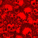 Punk_background. Abstract vector illustration red and bordeaux punk skulls with mohawk hair seamless background. Design for print on fabric or t-shirt Stock Photography
