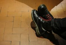 punk black boot royalty free stock image
