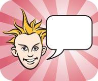 Punk blond gezicht met toespraakbel Stock Foto's