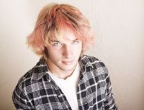 Punk Boy with Brightly Colored Hair. Close-Up of a Punk Boy with Brightly Colored Hair royalty free stock image