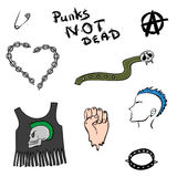 Punk counterculture set, collection or pattern Royalty Free Stock Photo