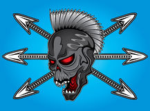 Punk cyber human skull with arrows  illustration Stock Photos