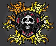 Punk cyber human skull with pistols and fire flames background Royalty Free Stock Images