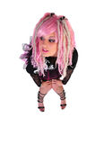punk de rose de cheveu de fille Photos stock