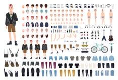 Punk DIY ou jogo do construtor Grupo de partes do corpo novas do caráter masculino ou do adolescente, emoções, posturas, equipame ilustração royalty free