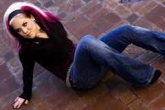 punk för modegothmodell Fotografering för Bildbyråer