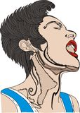 PUNK FACE. Punk rock singer in the style of figure drawing and hand colored in the computer graphics work Royalty Free Stock Photos