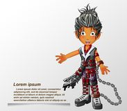 Punk fashion character in cartoon style. stock illustration