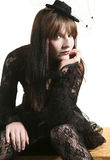 Punk fashion girl in black clothes Stock Image