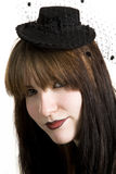 Punk fashion girl in black clothes Royalty Free Stock Photos