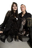Punk fashion girl and boy in black clothes Royalty Free Stock Images