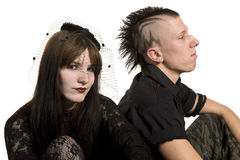 Punk fashion girl and boy in black clothes. On white background Royalty Free Stock Images