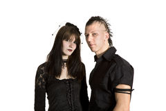 Punk fashion girl and boy in black clothes. Standing Stock Images