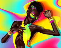 Punk Fashion. Mohawk hair, colorful cosmetics and matching background. Stock Photography