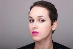 Punk female portrait with eye makeup royalty free stock photos