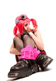 Punk girl. Portrait in studio isolated over white background Royalty Free Stock Photo