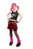 Punk girl. Portrait in studio isolated over white background stock photo