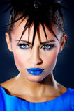 Punk Girl. Portrait of beautiful woman with punk haircut royalty free stock photo