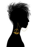 Punk girl. Hand drawn punk girl silhouette with piercing Stock Image