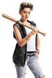 Punk girl with a bat Royalty Free Stock Photos