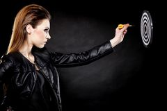 Punk girl with dart and target Royalty Free Stock Image