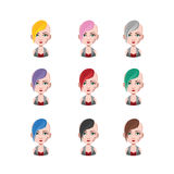 Punk girl - 9 different hair colors. ( flat colors Royalty Free Stock Photography