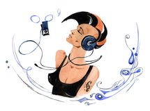 Punk. Girl listerning to music Stock Images