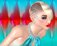 Punk girl with Mohawk hairstyle on colorful abstract background. Stock Image