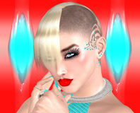 Punk girl with Mohawk hairstyle on colorful abstract background. Royalty Free Stock Photography