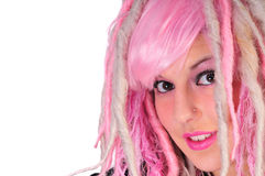 Punk girl with pink hair Stock Photo