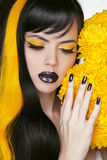 Punk Girl Portrait with Colorful Makeup, Long Hair, Nail polish. Stock Image