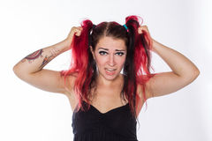 Punk girl with red hair Stock Image