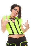 Punk girl shows gesture stuck her tongue Royalty Free Stock Photo