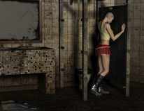 Punk girl stands in a toilet. 3D Rendering Punk girl stands in a toilet Stock Image