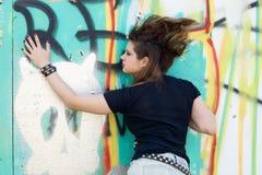 Punk girl walking outdoor Stock Photo