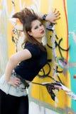 Punk girl walking outdoor Stock Photos