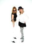 Punk girls. Fashionable punkish girls pose having fun stock images