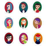 Punk girls avatar. Set isolated vector illustration