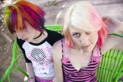 Punk Girls on a Bench Royalty Free Stock Photography